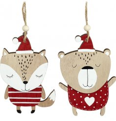 A cute assortment of a hanging Christmas fox and bear