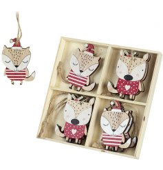A pack of cute wooden fox decorations in red and natural colours.