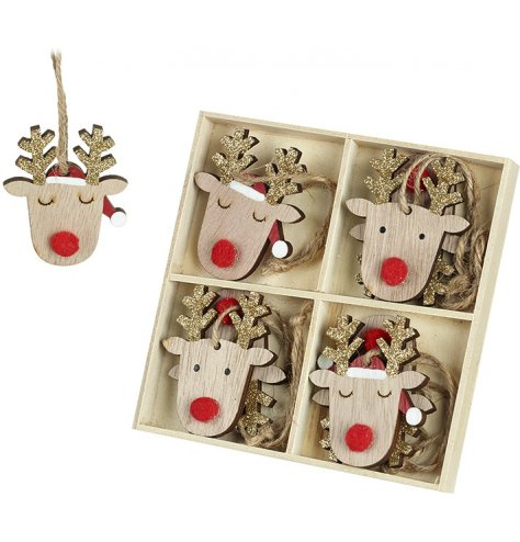 A set of 8 wooden reindeer hanging decorations with red rudolf pompom noses and gold glitter antlers.