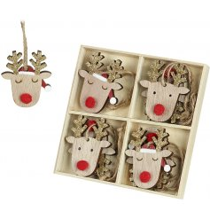 Cute wooden hanging reindeers with gold glitter antlers.