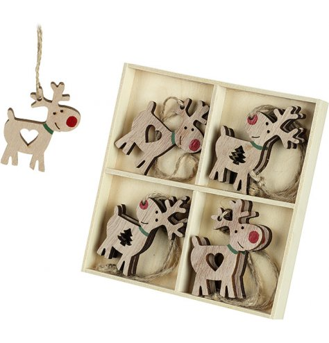 A set of 8 wooden reindeer decorations with heart and Christmas tree cut out details, red painted rudolf noses