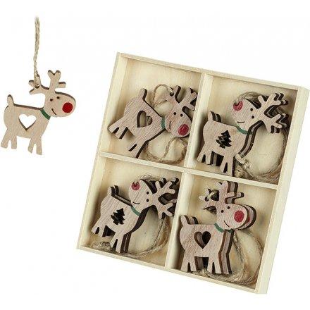 Hanging Reindeer Decorations Box of 8