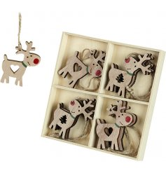 A sweet assortment of hanging reindeer decorations each complete with red noses and cut out heart and tree decals