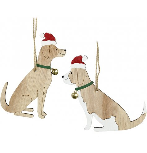 An assortment of 2 wooden dog hanging decorations with painted collars and Santa hats.