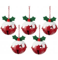 Hanging festive red jingle bells decorated as Christmas Puds
