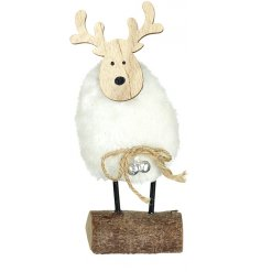 A rustic wooden reindeer ornament with a fluffy faux fur coat and silver jingle bells.