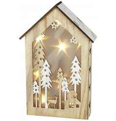 Bring a soft glow to any space of the home with this beautifully detailed Wooden Light Up Winter Scene