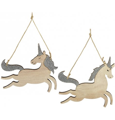 An assortment of 2 prancing wooden unicorn decorations with silver glitter and a jute string hanger.
