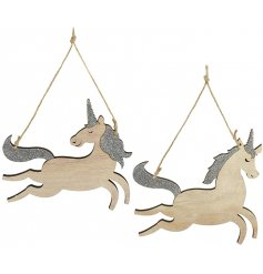 Bring a magical feel to your Tree decor at Christmas with this charming mix of hanging wooden unicorn decoration