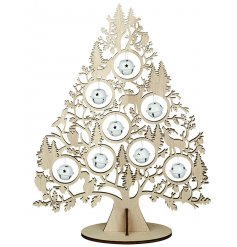 A beautifully decorative wooden tree ornament featuring whimsical woodland illustrations.