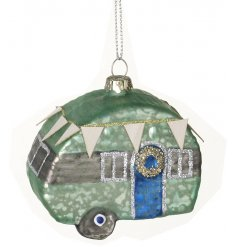 Bring a quirky edge to any tree display at Christmas time with this mercury effect glass caravan decoration