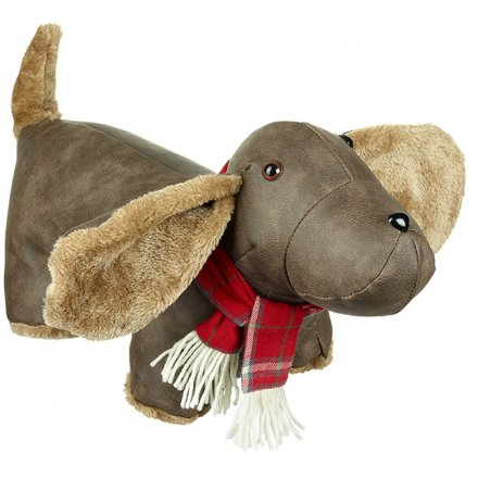Faux Leather Dog Doorstop With Scarf 43cm