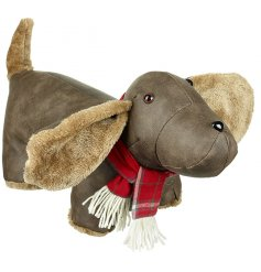 An adorable faux leather doggy doorstop featuring added fur accents and a checkered scarf