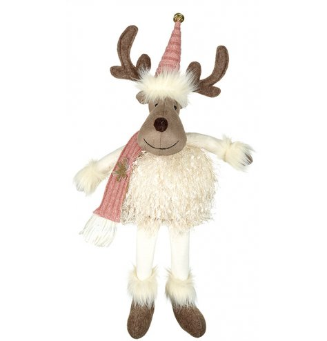 An adorable fluffy moose shelf sitter decoration with a blush pink hat and scarf.