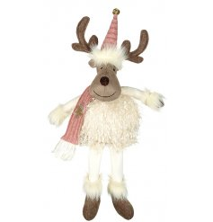 An adorably plump reindeer complete with a festive hat and scarf.