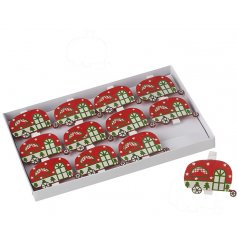 A charming set of festive themed clips with a caravan decal