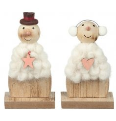 A fun assortment of natural toned wooden snowmen, covered in a white wool coating