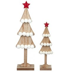 A set of 2 natural toned wooden tree decorations, assorted by their sizes and decorated with added pompom features