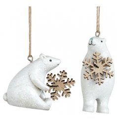 Two glistening frosty polar bears with cute blue noses, each holding a wooden snowflake.