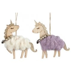 Two assorted glamorous unicorns with a wool detail and beaded necklace.