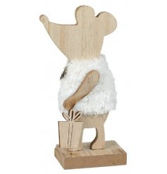 A simple yet sweet standing mouse decoration set with a natural wooden tone and faux fur coat