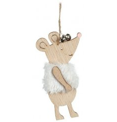 A simple yet sweet hanging mouse decoration set with a natural wooden tone and faux fur coat