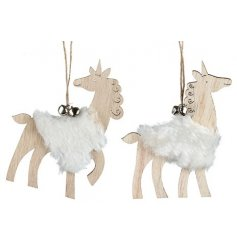 A simple assortment of natural wooden hanging unicorn decorations set with a faux fur decal and jingling bells