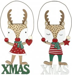 Bring a Traditional theme to your Christmas decor with this charming assortment of hanging wooden Xmas decorations