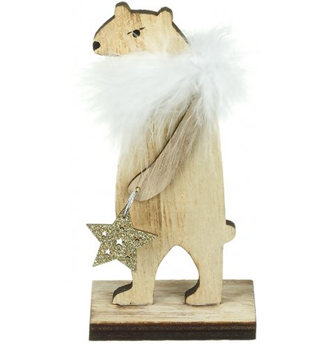 A natural wooden bear decoration with a chic white fluffy feather boa and gold glitter star.