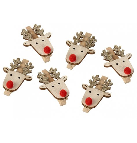 A set of 6 cheerful wooden reindeer pegs with gold glitter antlers and red pompom noses.