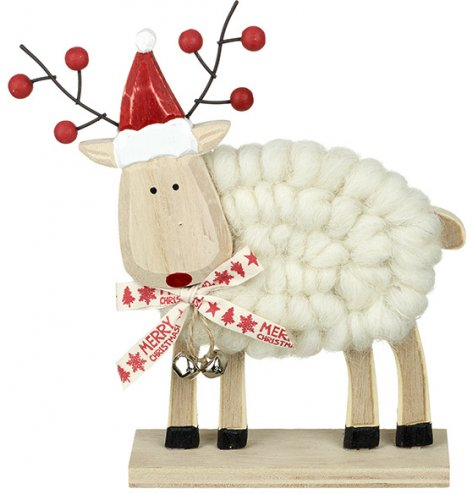A contemporary wooden reindeer decoration with charming nordic inspired decorative details.