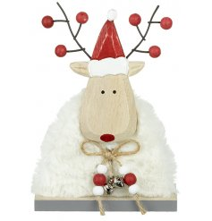 A sweet little furry reindeer complete with a jute string and jingle bells