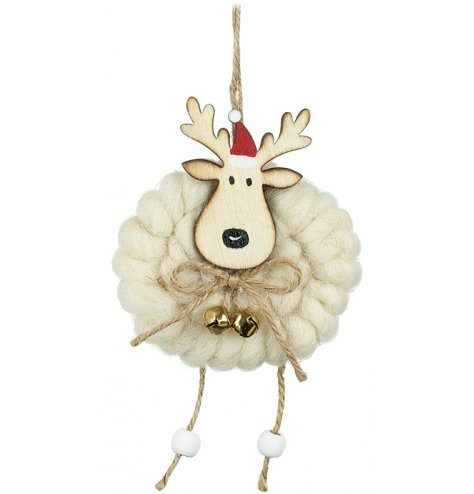 Fall in love with this charming wooden reindeer hanger with woolly coat.