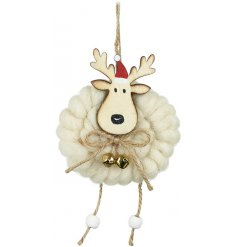 Bring a sweet little woollen touch to any Tree decor at Christmas time with this charming hanging reindeer decoration