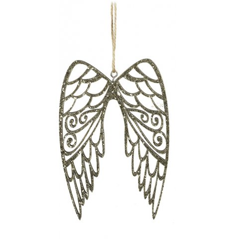 A pair of beautifully decorative angel wings, covered in sparkling gold glitter sequins.