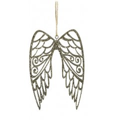 these hanging angel wings will be sure to bring a sparkle to any tree decor at Christmas time