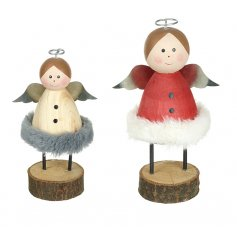 a festive assortment of standing wooden angels featuring Nordic inspired tones