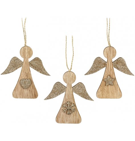 An assortment of 3 wooden angel hangers with gold glitter wings and seasonal motif.