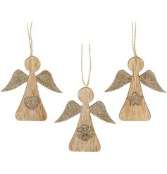 An assortment of 3 hanging angel decorations complete with Star, Snowflake and Heart decals