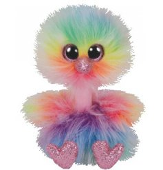 An extremely fluffy and colourfully themed Ostrich Soft Toy from the Beanie Boo TY Range