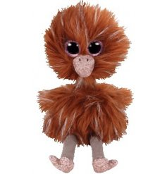 An adorably sparkly eyed ostrich soft toy from the TY Beanie Boo Range