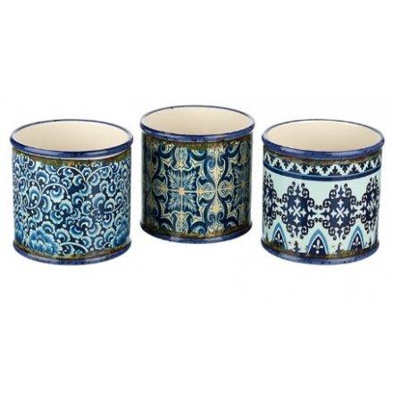 Assorted Rustic Blue Pots