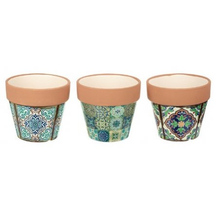 Assorted Green Pattern Pots