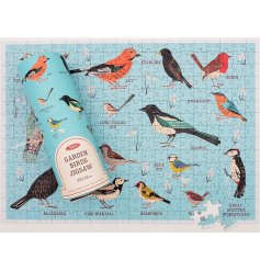 A 300piece puzzle that creates a fun and colourful picture of garden birds and their names