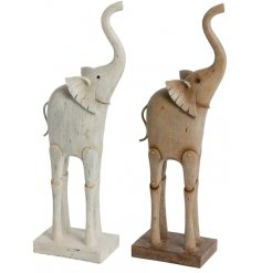 A delightful assortment of posed elephants with a wooden inspired look