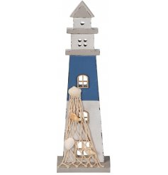 Bring a Coastal Charm to any space of the home with this rustic little wooden lighthouse in a blue tone