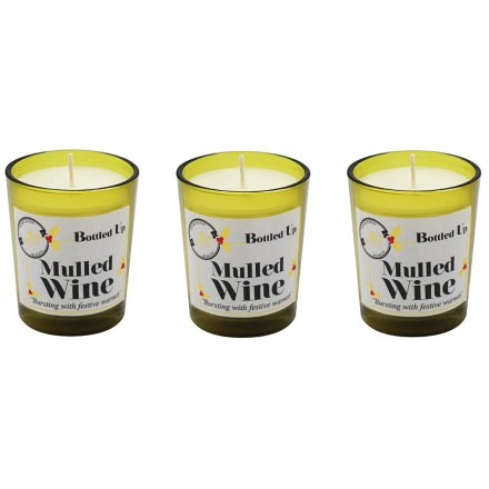 Mini Recycled Bottle Candles - Festive Mulled Wine