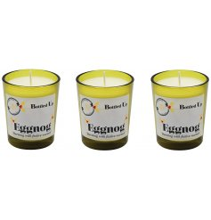 Add a rich creamy smell of a freshly poured Eggnog flow through your home with this mini set of quality finished candles