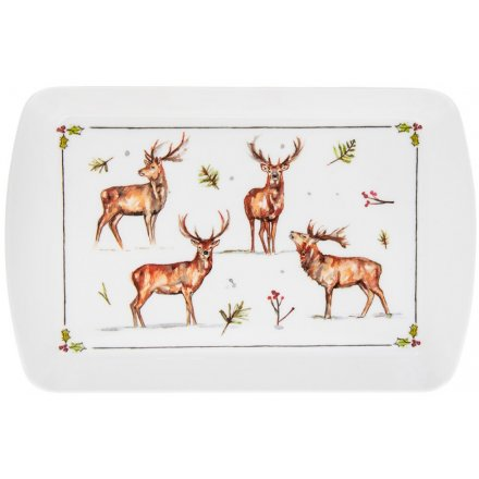 Winter Stags Small Serving Tray