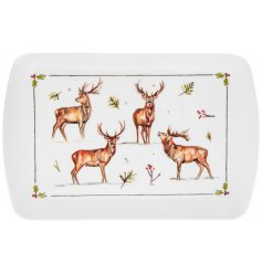 this plastic serving tray will be sure to add a festive winter touch to any coffee or dining table